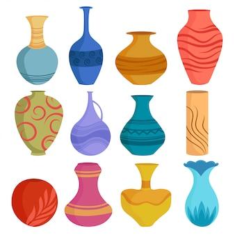 Ensemble de vases en céramique de dessin animé. objets de vase en céramique colorée, tasses de poterie antiques