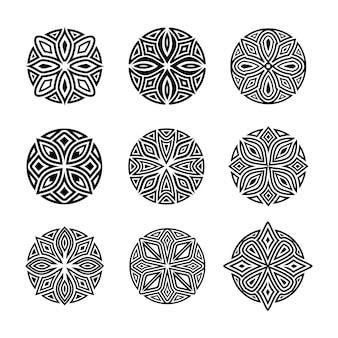 Ensemble de vecteur abstraite ronde mandala ornement