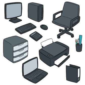 Ensemble de vecteur d'accessoires de bureau