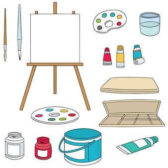 Ensemble de vecteur d'accessoires de peinture