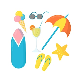 Ensemble de vecteur d'accessoires pour les vacances d'été