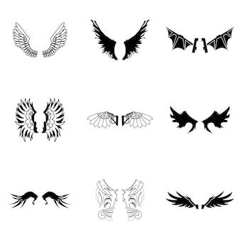 Ensemble de vecteur d'ailes. une illustration simple en forme d'ailes, des éléments modifiables, peut être utilisée dans la conception de logo