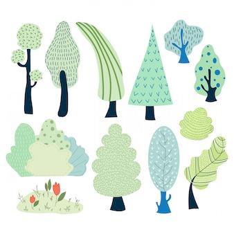 Ensemble de vecteur d'arbres de la bande dessinée et d'arbustes dans le parc