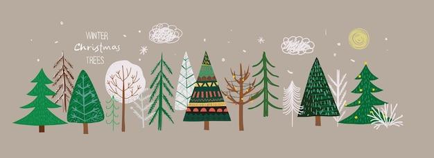 Ensemble de vecteur d'arbres de noël d'hiver et de personnes de nuage de brousse