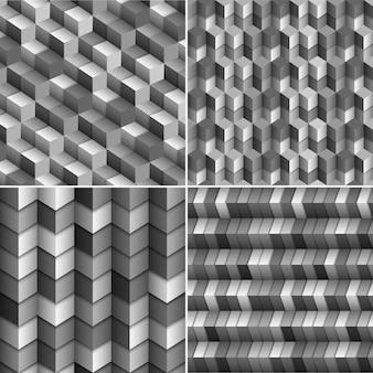 Ensemble de vecteur d'arrière-plans de blocs monochromes