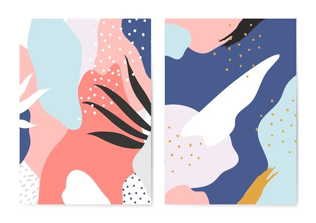 Ensemble de vecteur d'arrière-plans coloré style memphis