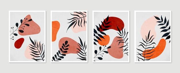 Ensemble de vecteur d'art mural botanique. art mural minimal et naturel. dessin de feuillage boho avec forme abstraite.