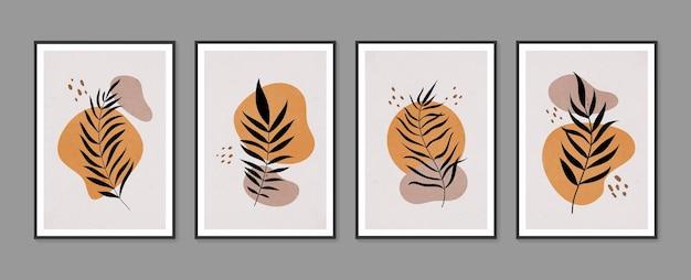 Ensemble de vecteur d'art mural botanique art mural minimal et naturel