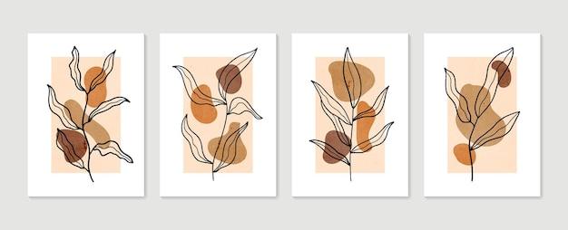 Ensemble de vecteur d'art mural botanique. collection d'affiches d'art contemporain. art mural minimal et naturel.