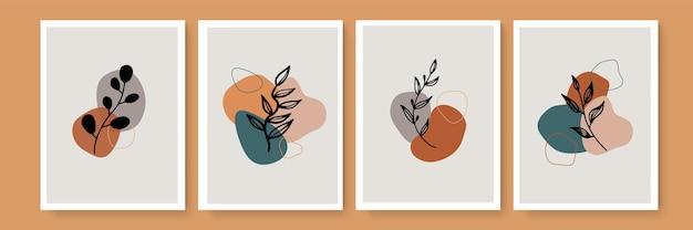 Ensemble de vecteur d'art mural botanique. dessin d'art de ligne de feuillage de boho de ton de terre avec la forme abstraite. conception d'art végétal abstrait pour l'impression, la couverture, le papier peint, l'art mural minimal et naturel