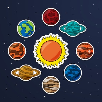 Ensemble de vecteur d'autocollant de système solaire. collection de vecteur de planètes