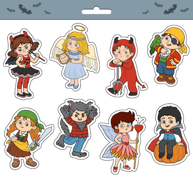 Ensemble de vecteur d'autocollants de dessin animé de couleur de personnages d'enfants d'halloween avec des enfants en costumes de carnaval