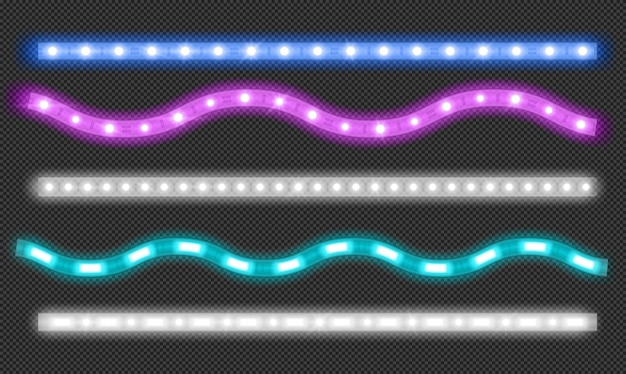 Ensemble de vecteur de bandes led avec effet de lumière néon