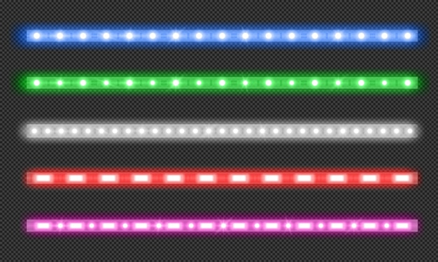 Ensemble de vecteur de bandes led avec effet néon