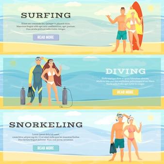 Ensemble de vecteur de bannières horizontales d'activités de plage. surfant.