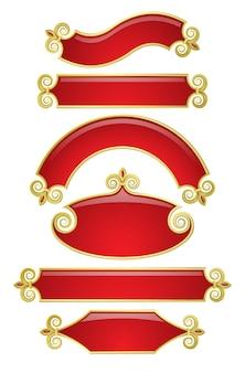Ensemble de vecteur de bannières en or rouge