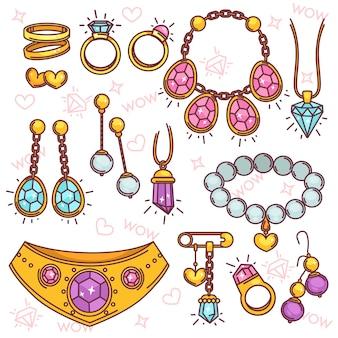Ensemble de vecteur de bijoux de mode.