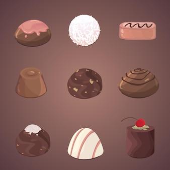 Ensemble de vecteur de bonbons au chocolat. illustration chocolats et truffes.
