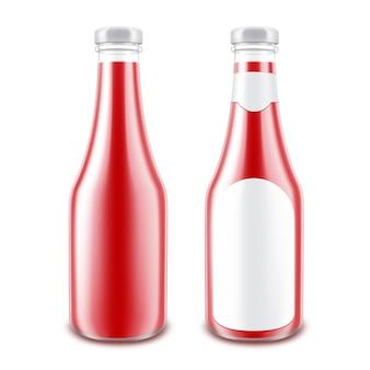 Ensemble de vecteur de bouteille de ketchup de tomate rouge brillant en verre blanc pour la marque