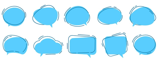 Ensemble de vecteur de bulles de dialogue modèle de message d'icône de boîte de dialogue nuages bleus pour le texte