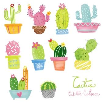 Ensemble de vecteur cactus aquarelle pastel
