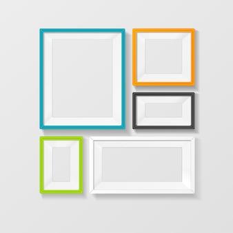 Ensemble de vecteur de cadre photo couleur