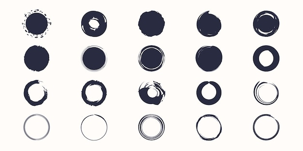 Ensemble de vecteur de cercle de pinceau dessiné à la main d'encre.