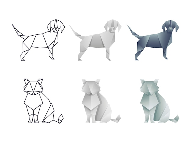 Ensemble de vecteur chat et chien origami japonais