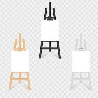 Ensemble de vecteur de chevalets de sienne en bois marron noir et blanc