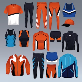 Ensemble de vecteur de collection de vêtements de sport