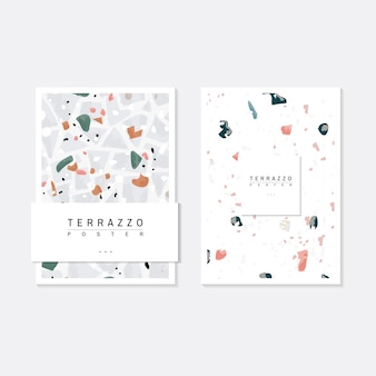 Ensemble de vecteur coloré affiches modèle terrazzo