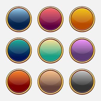 Ensemble de vecteur coloré de machines à sous vierges de jeu. éléments pour les applications mobiles. options et fenêtres de sélection, paramètres du panneau.