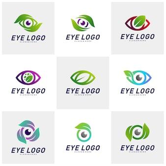 Ensemble de vecteur de concept de design nature eye logo, oeil avec modèle de logo feuille, symbole d'icône