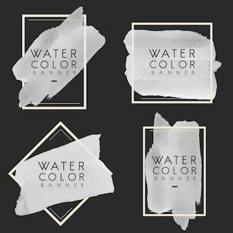 Ensemble de vecteur de conception de bannière aquarelle gris