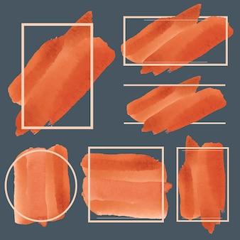 Ensemble de vecteur de conception de bannière aquarelle orange