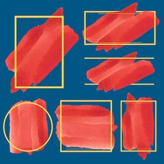 Ensemble de vecteur de conception de bannière aquarelle rouge