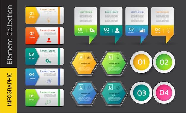 Ensemble de vecteur de conception de bannière infographie coloré.