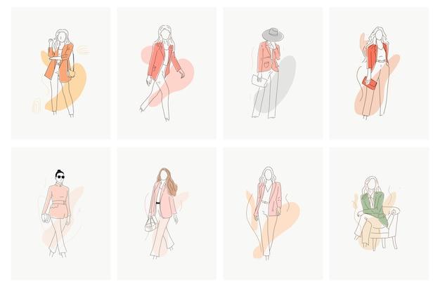 Ensemble de vecteur de conception d'illustration de mode femme