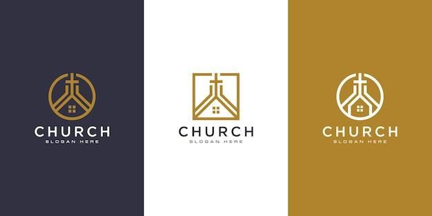 Ensemble de vecteur de conception de logo chrétien église