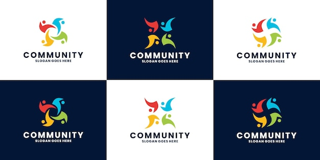 Ensemble de vecteur de conception de logo de communauté humaine abstraite