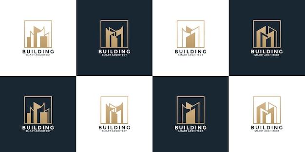 Ensemble de vecteur de conception de logo immobilier doré