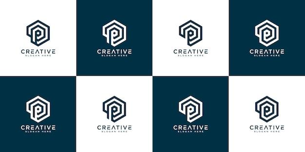 Ensemble de vecteur de conception de logo de lettre initiale p
