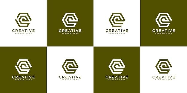 Ensemble de vecteur de conception de logo de lettre initiale q