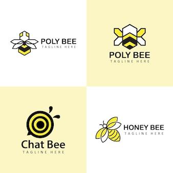 Ensemble de vecteur de conception de modèle de logo d'abeille
