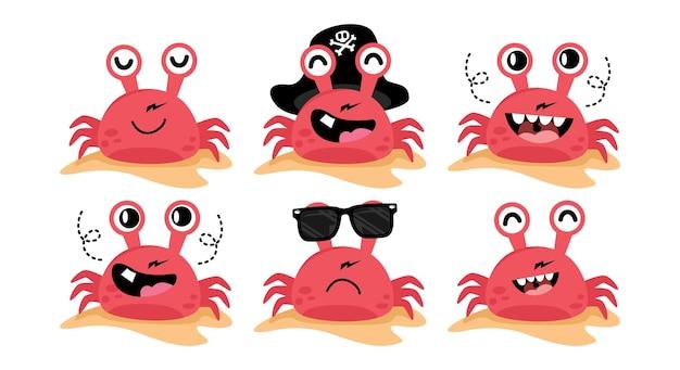 Ensemble de vecteur de conception plate d'illustration de dessin animé de personnage de crabe mignon
