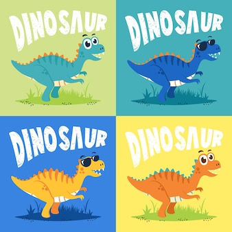 Ensemble de vecteur de conception plate d'illustration de dessin animé de personnage de dinosaure mignon