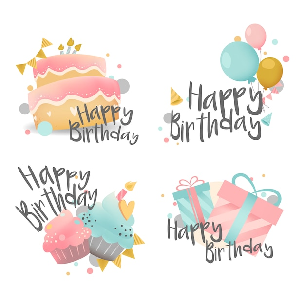 Ensemble de vecteur de conception de souhaits d'anniversaire