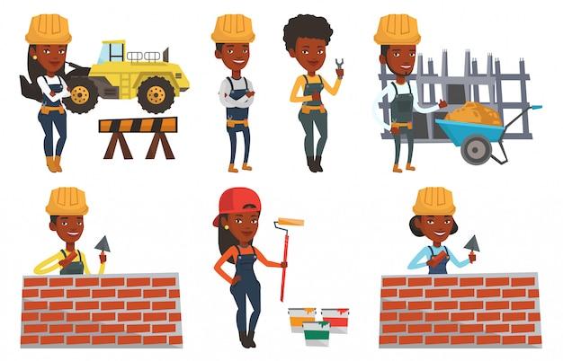 Ensemble de vecteur de constructeurs et de personnages de constructeurs