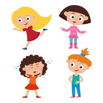 Ensemble de vecteur de couleur de filles de dessin animé avec différentes émotions isolées sur blanc