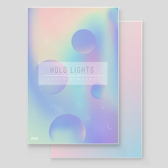 Ensemble de vecteur de couverture en marbre de papier magique en papier holographique. design minimaliste hipster graphique irisé pour brochure, bannière, papier peint, écran mobile